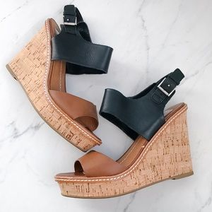DV Dolce Vita Cork Wedge Sandals Black and Tan 7.5